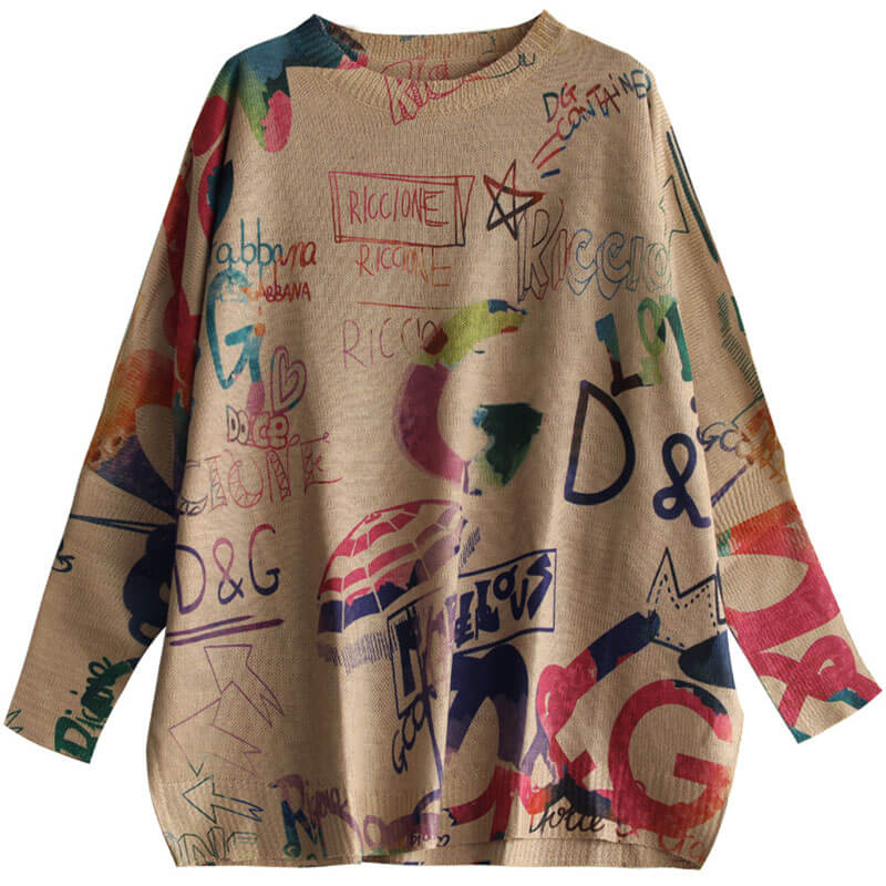 Women Loose Letter Graffiti Sweater