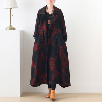 Women Loose Long Turn-down Collar Coat