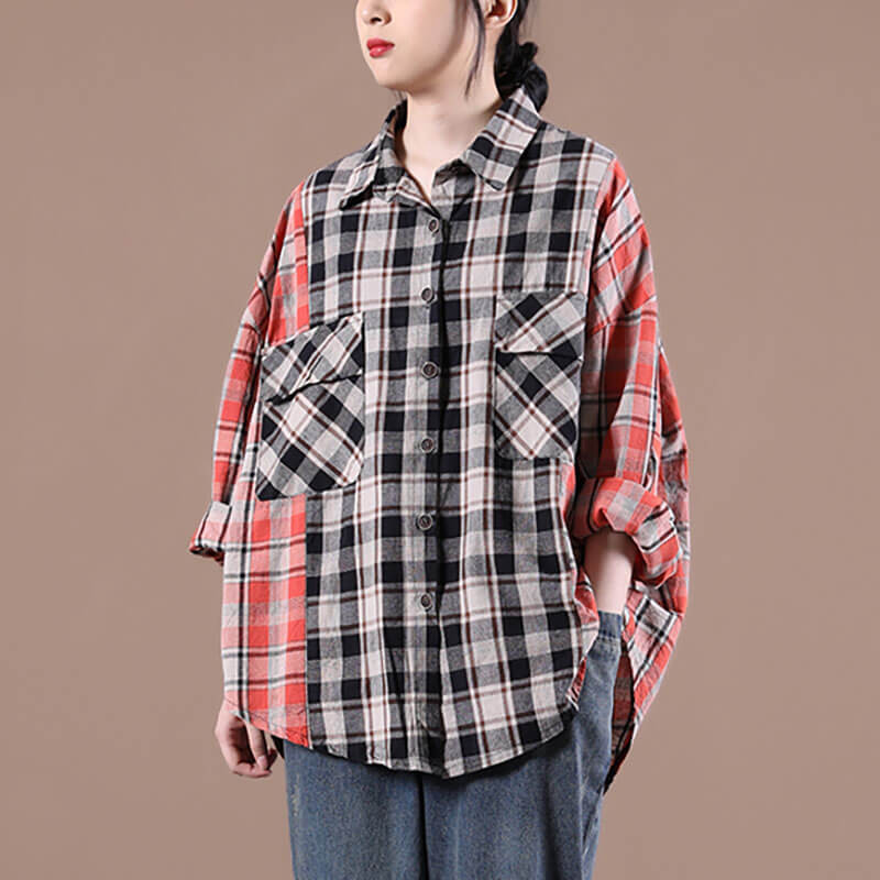 Women Loose Plaid Color Stitching Shirt
