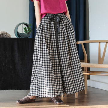 Women Loose Plaid Drawstring Linen Pants
