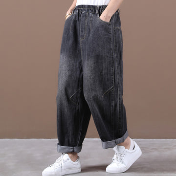 Women Loose Pocket Elastic Waist Pants