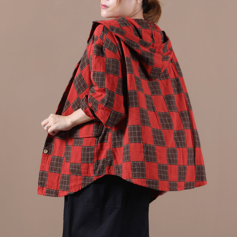 Women Loose Pocket Plaid Hooded Coat