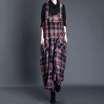Women Loose Retro Plaid Jumpsuits