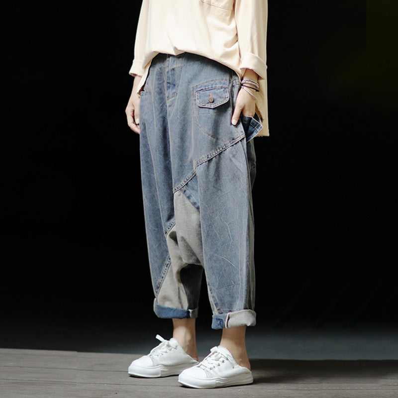 Women Loose Stitching Denim Pants