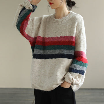 Women Loose Striped Casual Warm Jumper