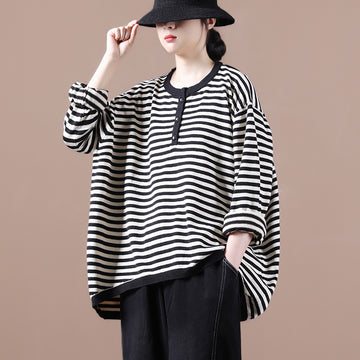 Women Loose Striped O-neck Casual Sweater