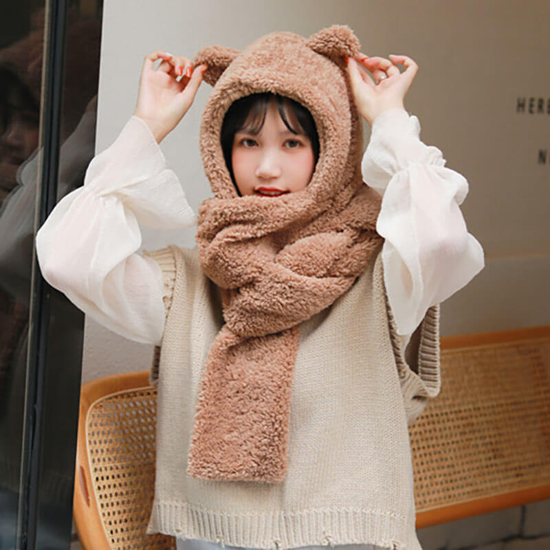 Women Lovely Pure Color Hat Scarf