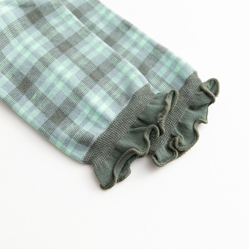 Women Lovely Ruffle Plaid Socks(3 Pairs)