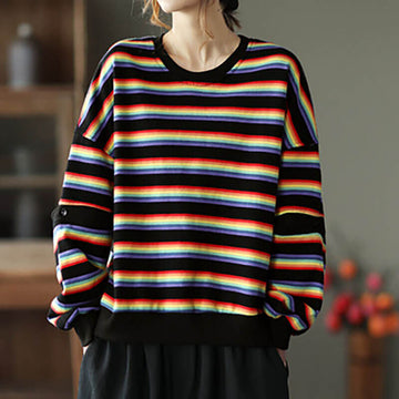 Women O-neck Casual Loose Striped Sweatshirt