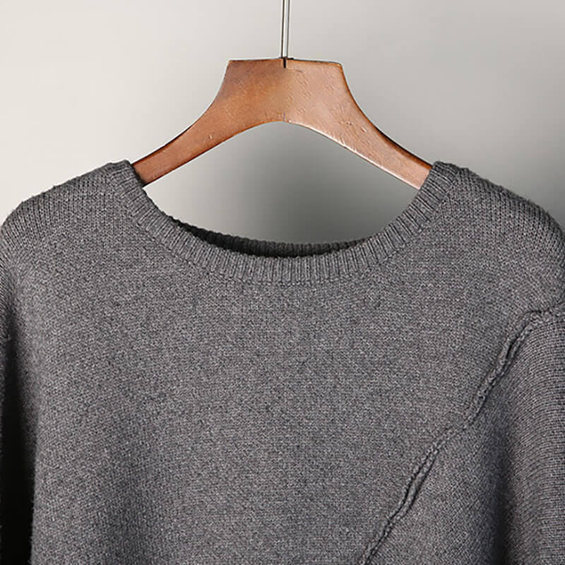 Women O-neck Knitted Irregular Hem Pure Color Sweater
