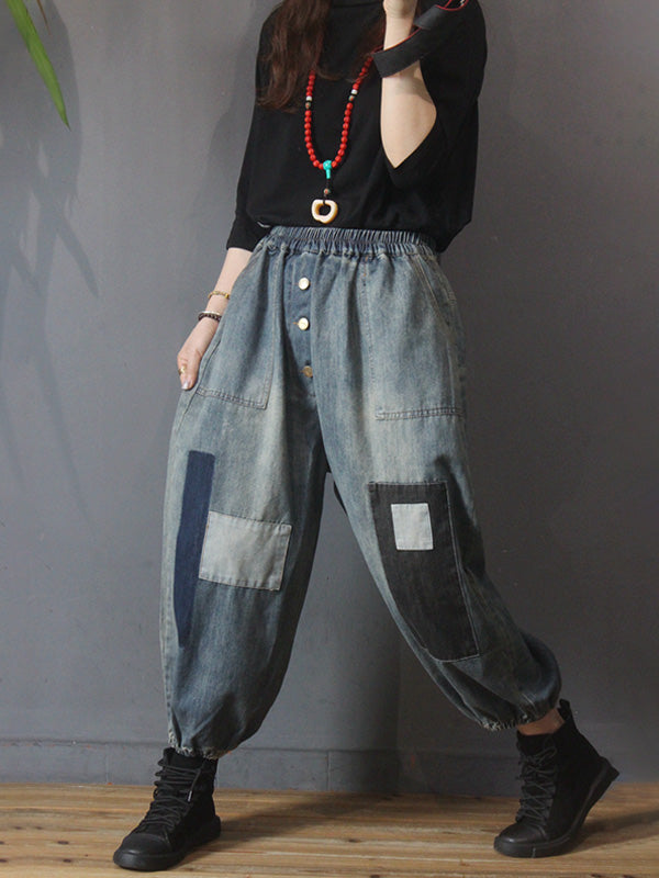 Women Patchwork Breasted Elastic Waist Pants