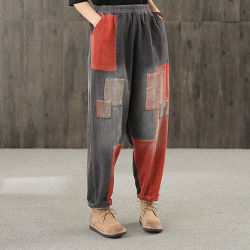 Women Patchwork Color Contrast Corduroy Pants