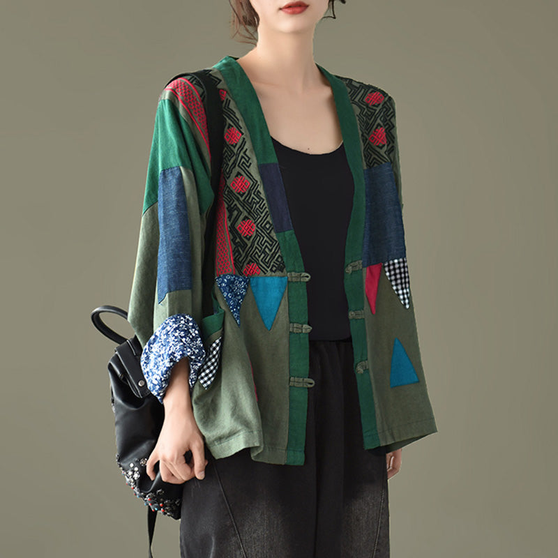 Women Patchwork Color Matching Coat