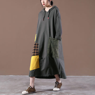 Women Patchwork Drawstring Pocket Stitching Hooded Dress