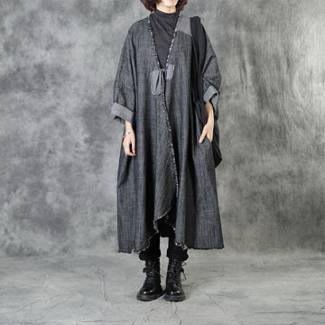 Women Patchwork Irregular Lacing Coat