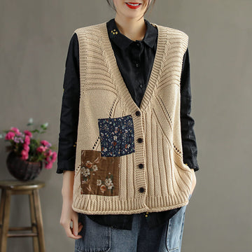 Women Patchwork Knitted Single Breasted Vest