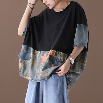 Women Patchwork Loose Summer Cotton Denim T-shirt