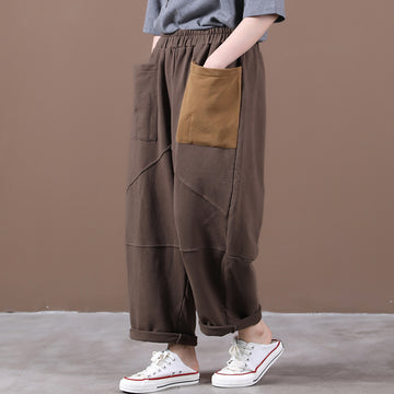 Women Patchwork Pocket Elastic Waist Pants