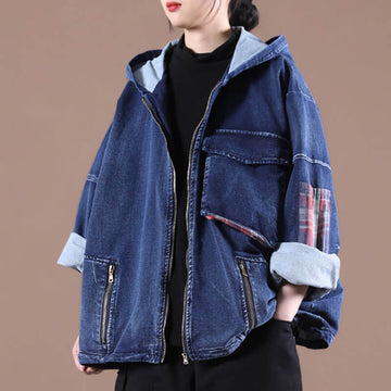 Women Patchwork Spliced Pocket Casual Coat