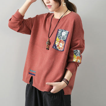 Women Patchwork Split Hem Sweater