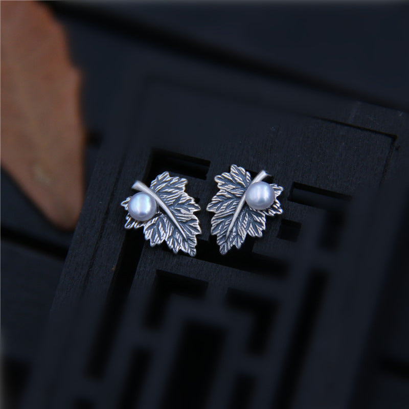 Women Pearl Maple Leaf Silver Ear Studs