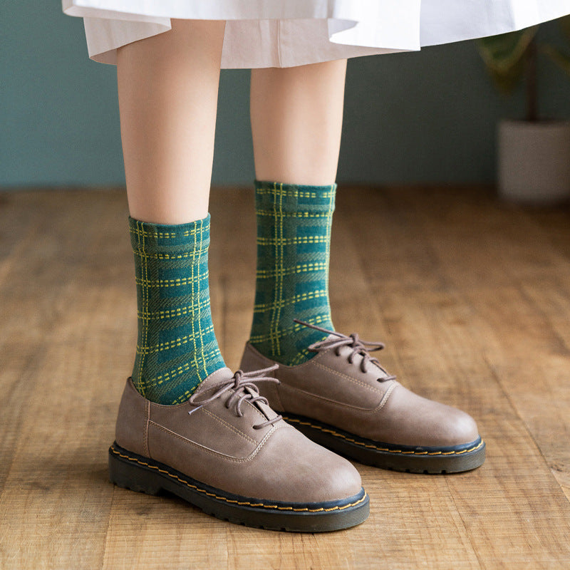 Women Plaid Color Stitching Socks(4 Pairs)