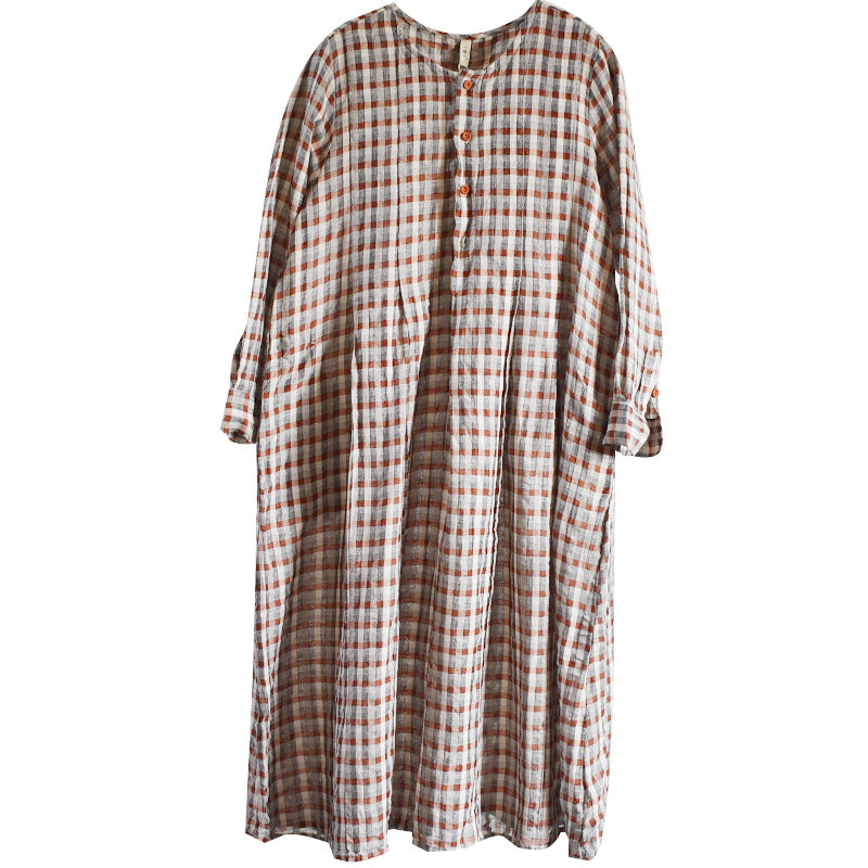 Women Plaid Draped Breasted Pocket Dress