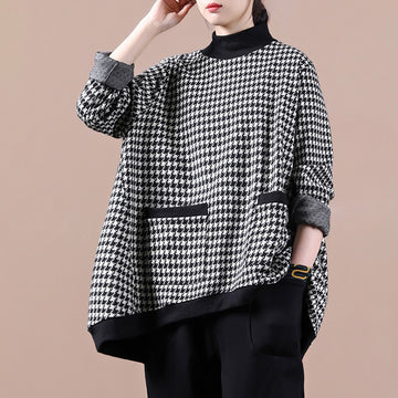Women Plaid Pocket Loose Sweatshirt