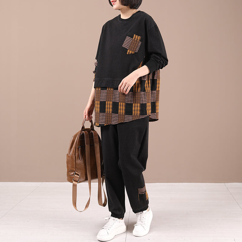 Women Plaid Pocket Stitching Patchwork Two Pieces Set