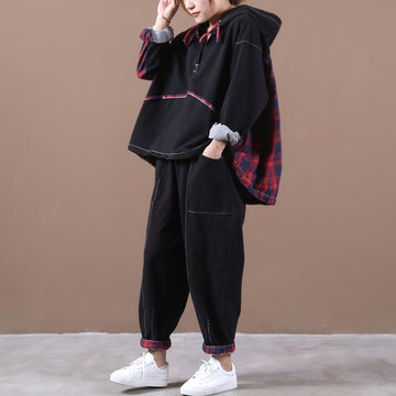 Women Plaid Stitching Two Piece Sets