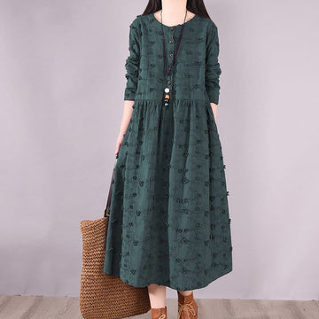 Women Pleated Loose Floral Casual Long Dress