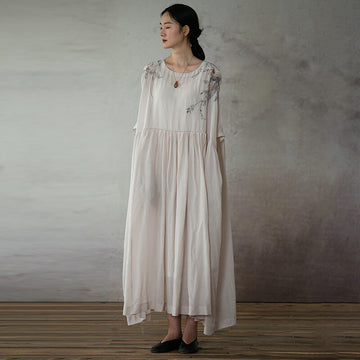 Women Pleated O-neck Casual Embroidered Maxi Dress