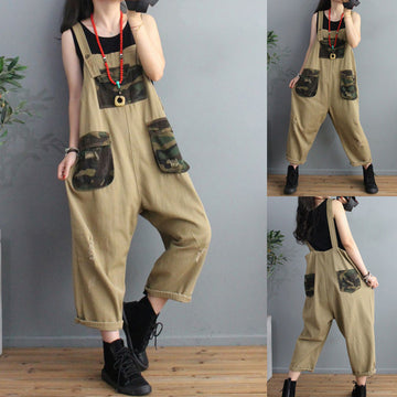 Women Pocket Color Matching Jumpsuit