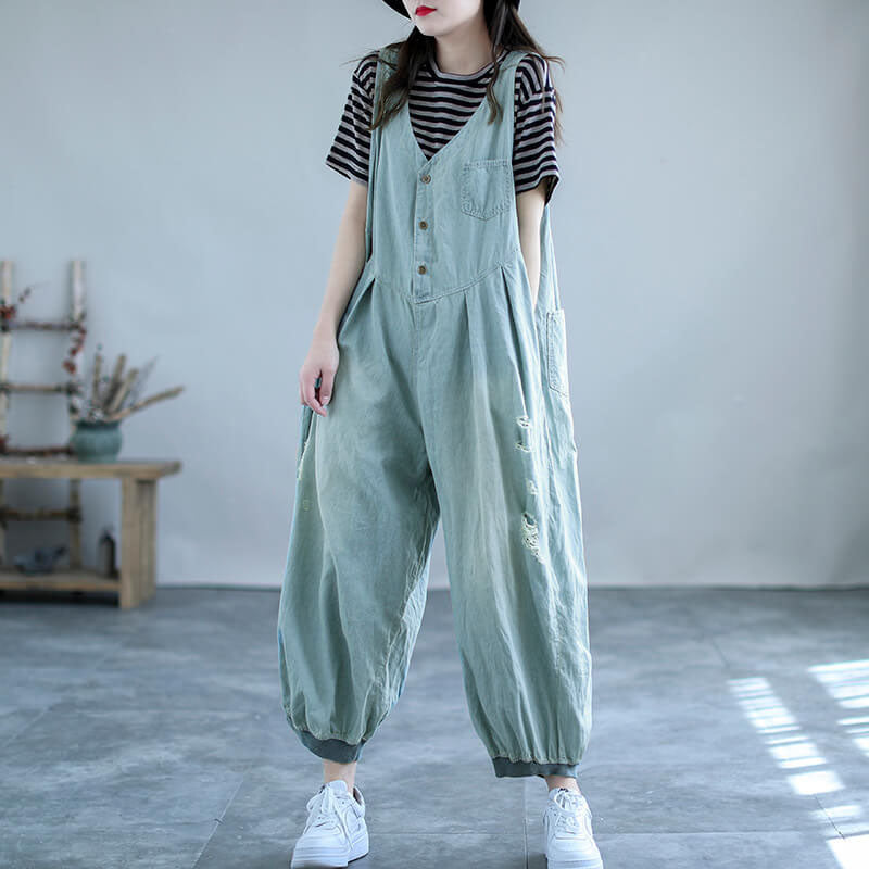 Women Pocket Hole Casual Denim Cotton Jumpsuits Dungarees