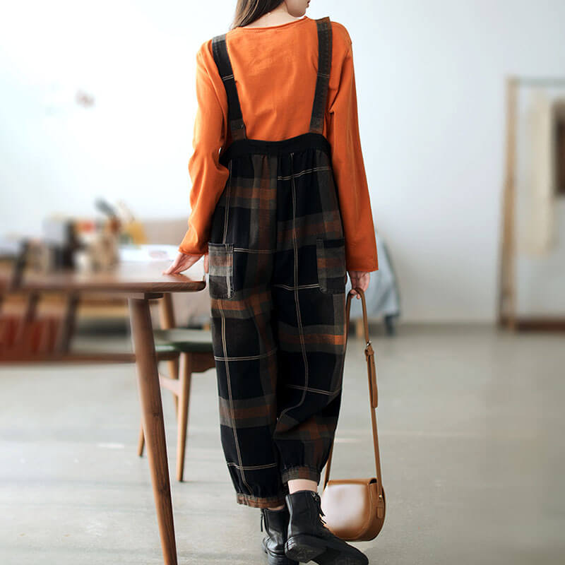 Women Pocket Loose Plaid Print Denim Overalls