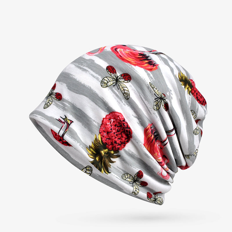 Women Print Flamingo Stripe Folding Hat