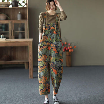 Women Printed Casual Denim Cotton Jumpsuit Dungarees