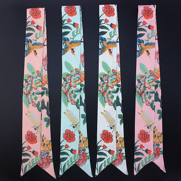 Women Pumpkin Flower Bird Silk Scarf Hair Band