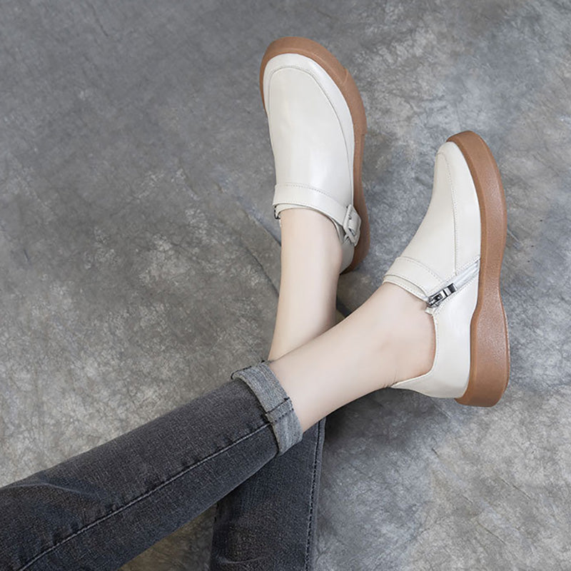 Women Pure Color Casual Buckle Leather Shoes