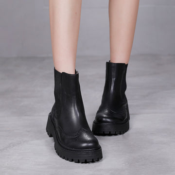 Women Pure Color Elastic Band Leather Boots