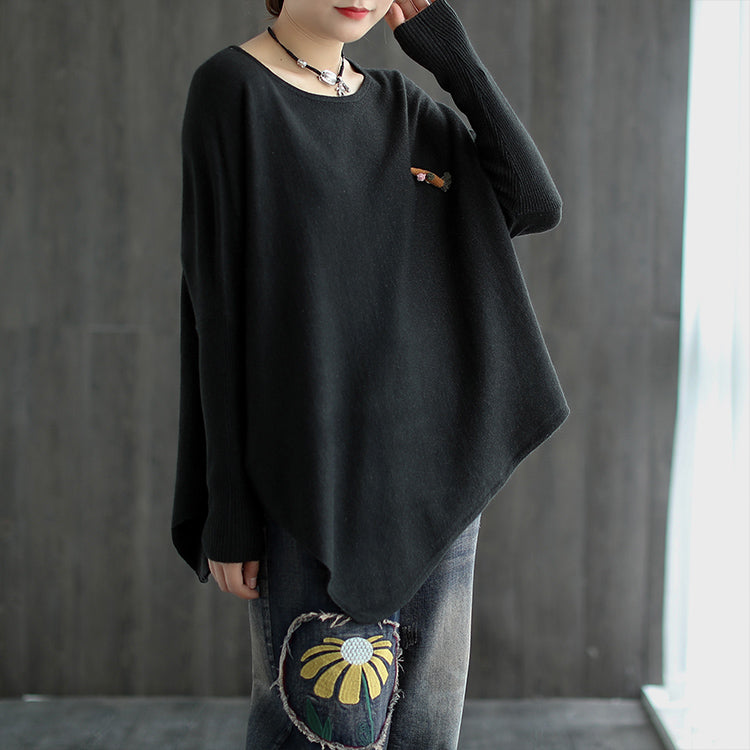 Women Pure Color Irregular Hem Sweater