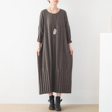 Women Pure Color Knitted Autumn Dress
