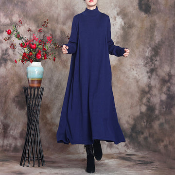 Women Pure Color Knitted High Neckline Dress