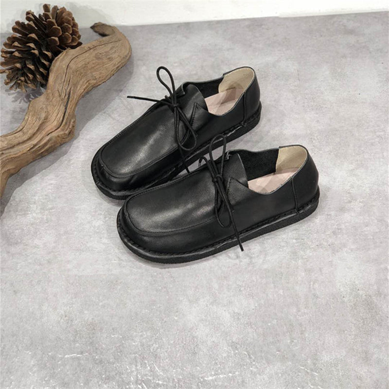 Women Pure Color Lacing Leather Shoes
