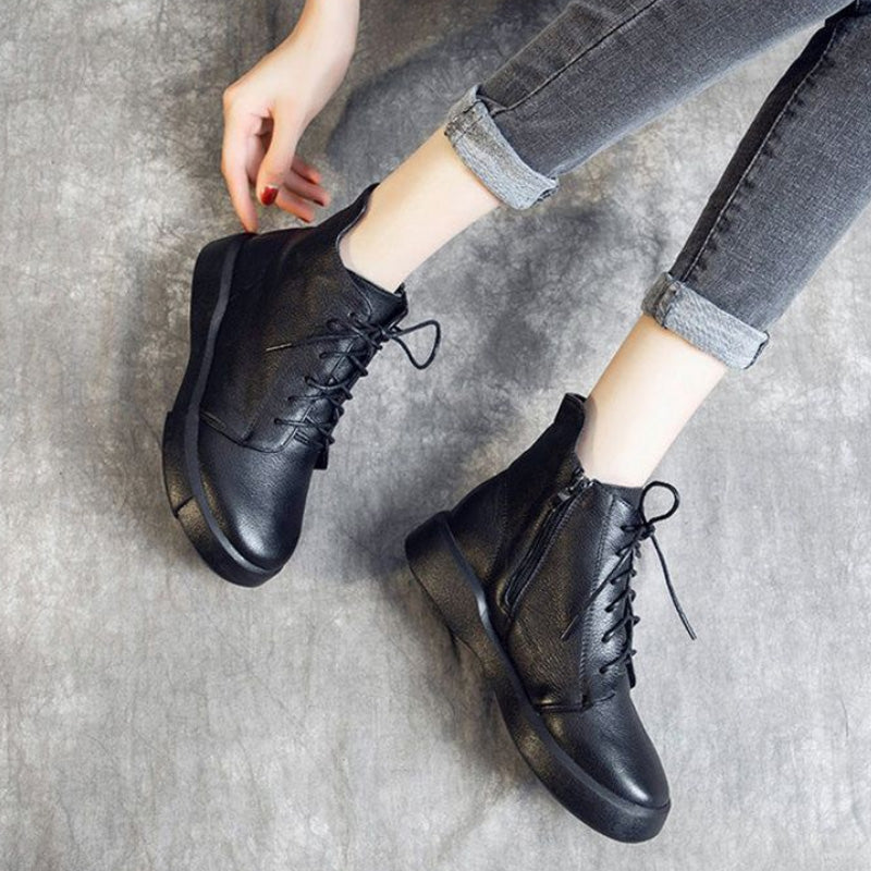 Women Pure Color Lacing Leather Short Boots