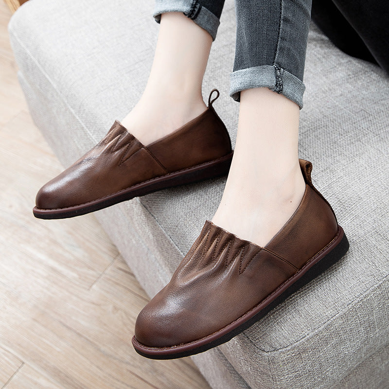 Women Pure Color Leather Flat Shoes