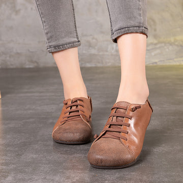 Women Pure Color Leather Lace up Flat Shoes