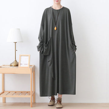Women Pure Color Loose Cotton Dress