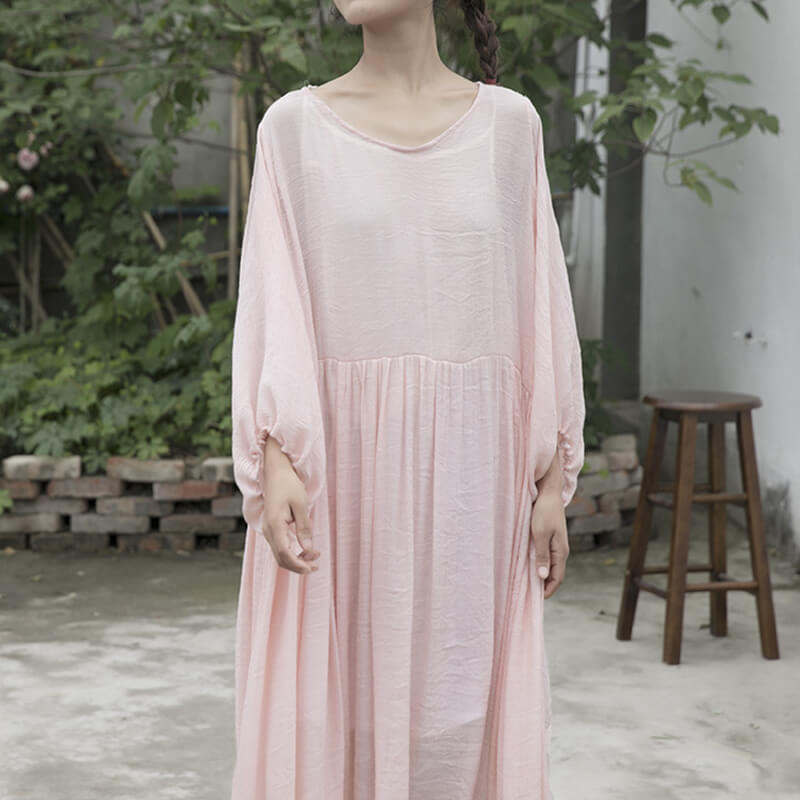 Women Pure Color Pleated Lantern Sleeve Casual Dress