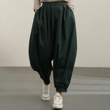 Women Pure Color Pocket Casual Harem Pants